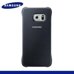 SAMSUNG Galaxy S6 Edge (SM-G925F)SAMSUNG EF-YG925BBEGWW műanyag védő tok  hátlap - bőrhatású - FEKETE - SAMSUNG SM-G925F Galaxy S6 Edge - GYÁRI