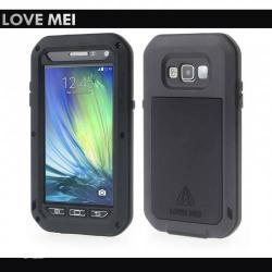 LOVE MEI Powerful defender műanyag védő tok - szilikon belső, Gorilla Glass üveg, fém keret - EXTRÉM VÉDELEM! - FEKETE - SAMSUNG SM-A500F/DS Galaxy A5 DUOS