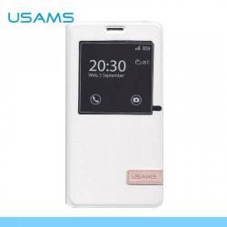 USAMS MUGE műanyag védő tok / hátlap - oldalra nyíló flip, hívószámkijelzés, asztali tartó funkciós - A7MG02 - FEHÉR - SAMSUNG SM-A700F Galaxy A7 - GYÁRI