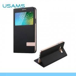 USAMS MUGE műanyag védő tok / hátlap - oldalra nyíló flip, hívószámkijelzés, asztali tartó funkciós - FEKETE - SAMSUNG SM-E700F Galaxy E7 - GYÁRI