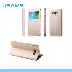 USAMS MUGE műanyag védő tok / bőr hátlap - oldalra nyíló flip cover, asztali tartó funkciós, hívószámkijelzésnek kivágás - ARANY - SAMSUNG SM-E700F Galaxy E7 - GYÁRI