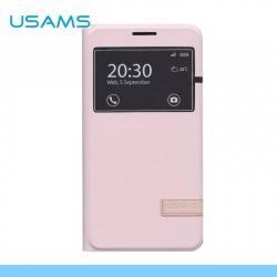 USAMS MUGE műanyag védő tok / bőr hátlap - oldalra nyíló flip cover, asztali tartó funkciós, hívószámkijelzésnek kivágás - RÓZSASZÍN - SAMSUNG SM-E700F Galaxy E7 - GYÁRI