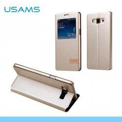 USAMS MUGE műanyag védő tok / hátlap - oldalra nyíló flip, hívószámkijelzés, asztali tartó funkciós - A7MG03 - ARANY - SAMSUNG SM-A700F Galaxy A7 - GYÁRI