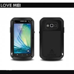 LOVE MEI Powerful defender műanyag védő tok - szilikon belső, Gorilla Glass üveg, fém keret - EXTRÉM VÉDELEM! - FEKETE - SAMSUNG SM-A300F/DS Galaxy A3 DUOS