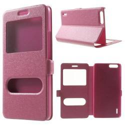 Műanyag védő tok / hátlap - oldalra nyíló s-view cover flip, asztali tartó funkció, mágneses záródás, hívásfelvétel - RÓZSASZÍN - HUAWEI Honor 6 Plus