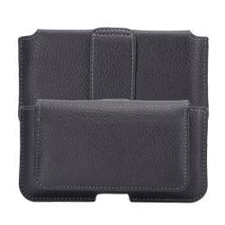 Univerzális fekvő tok, mágneses patent, övre fűzhető, bankkártyatartó zseb  - FEKETE - SAMSUNG SM-G920 Galaxy S6 méret
