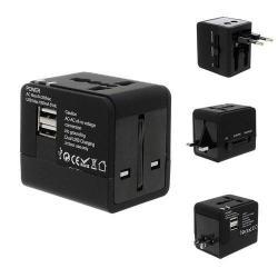 US UK EU AU 4 in 1 utazó töltõ / hálózati töltõ - 1db USB aljzat, 5V/1000mAh - FEKETE