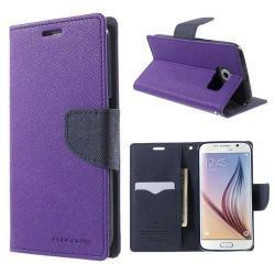 Mercury notesz tok / flip tok - asztali tartó funkciós, oldalra nyíló, rejtett mágneses záródás, bankkártya tartó zsebekkel, szilikonos belső - LILA / SÖTÉTKÉK - SAMSUNG SM-G920 Galaxy S6