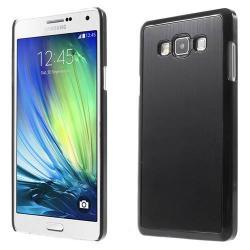 Alumínium védõ tok / hátlap - szálcsiszolt mintázat - FEKETE - SAMSUNG SM-A700F Galaxy A7