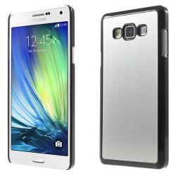 Alumínium védõ tok / hátlap - szálcsiszolt mintázat - EZÜST / FEKETE - SAMSUNG SM-A700F Galaxy A7