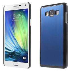 Alumínium védõ tok / hátlap - szálcsiszolt mintázat - SÖTÉTKÉK / FEKETE - SAMSUNG SM-A700F Galaxy A7