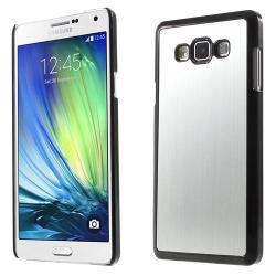 Alumínium védõ tok / hátlap - szálcsiszolt design - EZÜST / FEKETE - SAMSUNG SM-A700F Galaxy A7