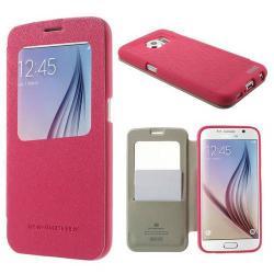 MERCURY Wow műanyag védő tok / hátlap - oldalra nyíló S-View cover flip, hívószámkijelzés, textilminta, bankkártya tartó - MAGENTA - SAMSUNG SM-G920 Galaxy S6