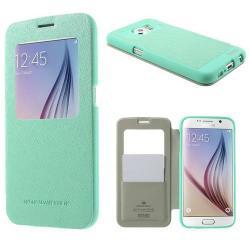 MERCURY Wow műanyag védő tok / hátlap - oldalra nyíló S-View cover flip, hívószámkijelzés, textilminta, bankkártya tartó - CYAN KÉK - SAMSUNG SM-G920 Galaxy S6