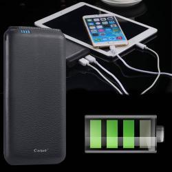 CAGER B20000 vésztöltő töltő / hordozható töltő / uti töltő - 20000 mAh LI-ION beépített akkuval, USB aljzattal, 5V/1A és 5V/2,1A kimenet is!, bőrborítású - FEKETE