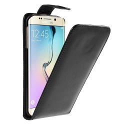 FLIP tok - lefelé nyíló, rejtett mágneses záródás - FEKETE - SAMSUNG SM-G925F Galaxy S6 Edge