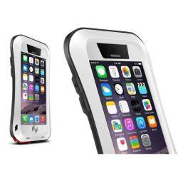 LOVE MEI SLIM defender műanyag védő tok - szilikon belső, Gorilla Glass üveg, fém keret - EXTRÉM VÉDELEM! - FEHÉR / FEKETE - APPLE iPhone 6 Plus - GYÁRI