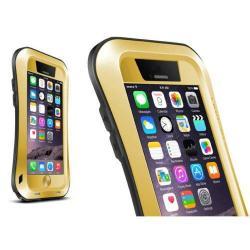 LOVE MEI SLIM defender műanyag védő tok - szilikon belső, Gorilla Glass üveg, fém keret - EXTRÉM VÉDELEM! - ARANY / FEKETE - APPLE iPhone 6 Plus - GYÁRI