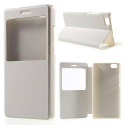 Műanyag védő tok / bőr hátlap - oldalra nyíló S-View Cover flip, hívószám kijelzés, asztali tartó funkció - FEHÉR - HUAWEI P8 lite