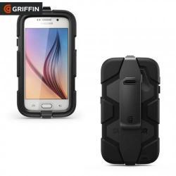 GRIFFIN TECHNOLOGY SURVIVOR ALL TERRAIN műanyag védő tok / hátlap - szilikon keret, ütésálló, képernyővédő fólia, övcsipesz - GB41128 - FEKETE - SAMSUNG SM-G920 Galaxy S6 - GYÁRI