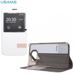 USAMS MUGE műanyag védő tok / hátlap - oldalra nyíló flip, hívószámkijelzés, asztali tartó funkciós - FEHÉR - S6MG02 - SAMSUNG SM-G920 Galaxy S6 - GYÁRI