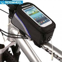 ROSWHEEL 12496S-B5 telefon tartó kerékpár / bicikli - vázra rögzíthetõ, cipzár, 4,2