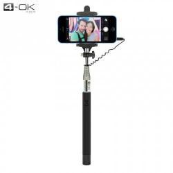 4-OK UNIV teleszkópos Selfie bot - 3.5 mm jack csatlakozó, távkioldó exponáló gomb, 1m hosszú nyél, 55-85 mm - PODCAN - FEKETE - GYÁRI