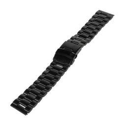 UNIVERZÁLIS fém okosóra szíj - FEKETE - 175 x 20 mm - Samsung Gear 2 R380 / Samsung Gear 2 Neo R381 / LG G Watch W100 / LG G Watch R W110 / Asus Zenwatch