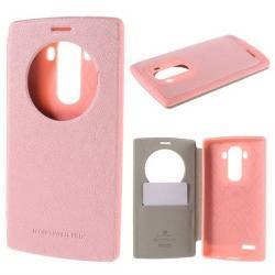 MERCURY Wow műanyag védő tok / hátlap - oldalra nyíló S-View cover flip, hívószámkijelzés, textilminta, bankkártya tartó - RÓZSASZÍN - LG G4 - GYÁRI