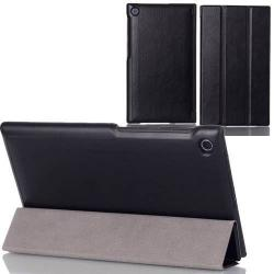 Műanyag védő tok / bőr hátlap - oldalra nyíló flip cover, TRIFOLD asztali tartó funkciós - FEKETE - ASUS Memo Pad 7 (ME572C / ME572CL)