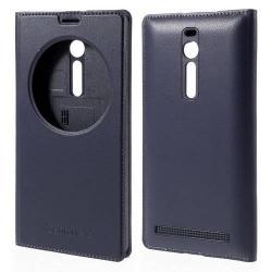 Akkufedél - bőr hátlap, oldalra nyíló S-View Cover flip, hívószám kijelzés - SÖTÉTKÉK - ASUS Zenfone 2 (ZE550ML / ZE551ML)