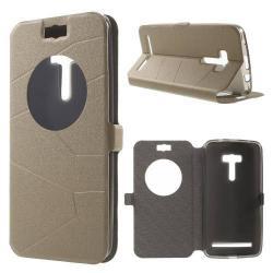 Notesz tok / flip tok - asztali tartó funkciós, oldalra nyíló ablakos flip cover, rejtett mágneses záródás, szilikon belső - ARANY - ASUS Zenfone Selfie (ZD551KL)