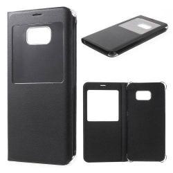 Műanyag védő tok / bőr hátlap - oldalra nyíló ablakos flip cover, hívószámkijelzés - FEKETE -  SAMSUNG SM-G928 Galaxy S6. Edge +