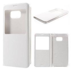 Műanyag védő tok / bőr hátlap - oldalra nyíló ablakos flip cover, hívószámkijelzés - FEHÉR -  SAMSUNG SM-G928 Galaxy S6. Edge +