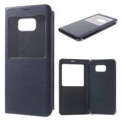 Műanyag védő tok / bőr hátlap - oldalra nyíló ablakos flip cover, hívószámkijelzés - SÖTÉTKÉK -  SAMSUNG SM-G928 Galaxy S6. Edge +
