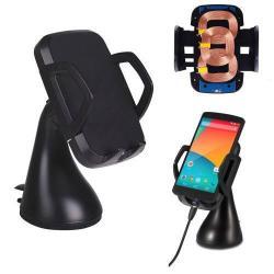 UNIVERZÁLIS gépkocsi / autós tartó - tapadókorongos, QI wireless vezetéknélküli funkció, 5V/1000mAh, 3 tekercses, 60-94mm-ig állítható bölcsõ - FEKETE