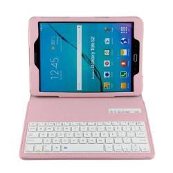 Notesz / mappa tok - RÓZSASZÍN - álló, bõr, asztali tartó funkciós, BLUETOOTH billentyûzet, QWERTY, angol nyelvû! - SAMSUNG SM-T810 / SM-T815 Galaxy Tab S2 9.7