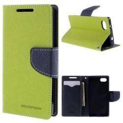 MERCURY notesz tok / flip tok - ZÖLD / KÉK - asztali tartó funkciós, oldalra nyíló, rejtett mágneses záródás, bankkártya tartó zsebekkel, szilikon belső - SONY Xperia Z5 Compact