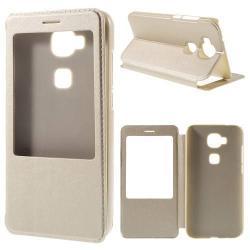 Műanyag védő tok / bőr hátlap - ARANY - oldalra nyíló S-View Cover flip, hívószám kijelzés, asztali tartó funkció - HUAWEI G8