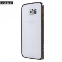 Alumínium védő keret - BUMPER - LOVE MEI - FEKETE - SAMSUNG SM-G920 Galaxy S6