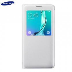 Műanyag védő tok / bőr hátlap - oldalra nyíló ablakos flip cover, hívószámkijelzés, asztali tartó funkciós - EF-CG928PWE - FEKETE - SAMSUNG SM-G928 Galaxy S6. Edge + - GYÁRI