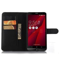 WALLET notesz tok / flip tok - FEKETE - asztali tartó funkciós, oldalra nyíló, rejtett mágneses záródás, bankkártyatartó zseb - ASUS Zenfone 2 Laser 6.0 (ZE601KL)