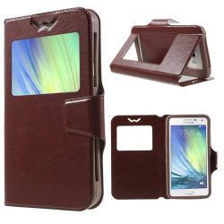 CRAZY UNIVERZÁLIS notesz / mabba tok - BARNA - oldalra nyíló ablakos flip cover, asztali tartó funkció, mágneses, szilikon belsős - 151 x 80 x 10 mm