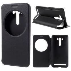 Notesz / flip tok - FEKETE - oldalra nyíló ablakos flip cover, hívószámkijelző kivágás, asztali tartó funkció, rejtett mágneses - ASUS Zenfone 2 Laser (ZE550KL)