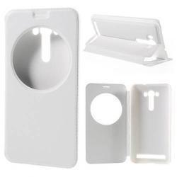 Notesz / flip tok - FEHÉR - oldalra nyíló ablakos flip cover, hívószámkijelző kivágás, asztali tartó funkció, rejtett mágneses - ASUS Zenfone 2 Laser (ZE550KL)