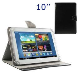 UNIVERZÁLIS notesz / mappa tablet PC tok - FEKETE - álló, bõr, mágneses, asztali tartó funkciós, 10