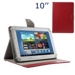 UNIVERZÁLIS notesz / mappa tablet PC tok - PIROS - álló, bõr, mágneses, asztali tartó funkciós, 10