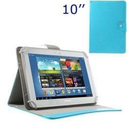 UNIVERZÁLIS notesz / mappa tablet PC tok - VILÁGOSKÉK - álló, bőr, mágneses, asztali tartó funkciós, 10