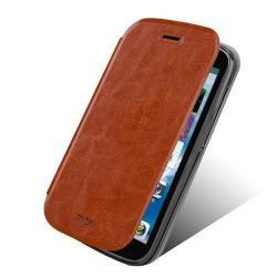 MOFI műanyag védő tok / bőr hátlap - oldalra nyíló flip, asztali tartó funkciós - BARNA - HUAWEI Y600