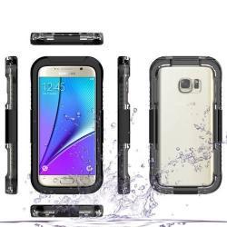 Vízhatlan / vízálló tok - nyakba akasztható, 10m-ig vízálló - FEKETE / ÁTLÁTSZÓ - SAMSUNG SM-G930 Galaxy S7